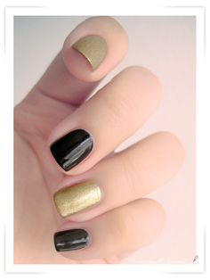 I like the alternating black and gold, but I would probably add polka dots or French tips.
