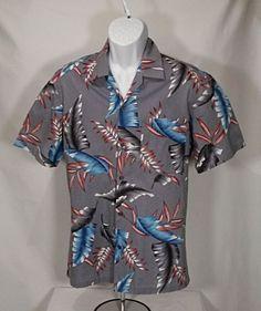 2fa845b3 Hawaii Blues Mens Medium 100% Cotton Hawaiin Gray Blue Palms Shirt  #HawaiiBlues #Hawiian