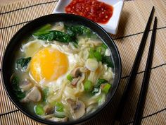 cook ramen, add leftover spinach, mushroom, scallion, then poach an egg in the middle (with heat lowered). YUM!