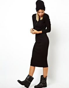 Image 4 of ASOS Midi Ribbed Body-Conscious Dress With Long Sleeve
