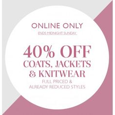 Online Offer: 40% Off Coats, Jackets and Knitwear @ Jacqui E. - Bargain Bro
