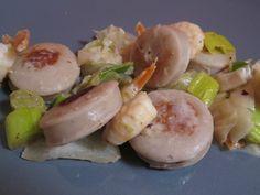 Poêlée de boudin blanc aux crevettes