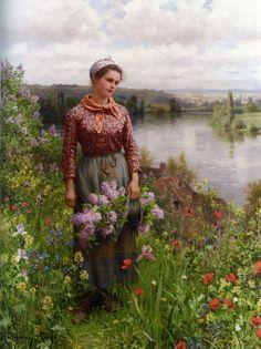 """Gathering lilacs"" - Daniel Ridgway Knight"