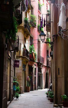 El Born quarter streets, old, colourful and authentic Barcelona.