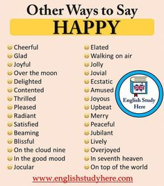 Other Ways to Say HAPPY in English Synonym Words – Happy Cheerful Glad Joyful Over the moon Delighted Contented Thrilled Teaching English Grammar, English Writing Skills, English Vocabulary Words, Learn English Words, English Language Learning, English Study, English English, English Phrases, English Idioms