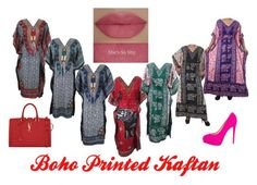 Boho Printed Kaftan by mogul-interior on Polyvore featuring Brian Atwood, Yves Saint Laurent and She's So
