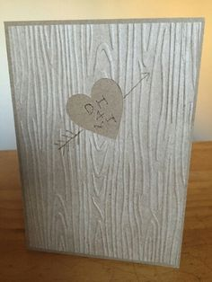 5th wedding anniversary brother scan n cut heart woodgrain embossing folder - scratched initials with piercer and then drawn over with pen inspired by https://au.pinterest.com/pin/52424783135706762/ but wanted pure simplicity of old school writing on a tree