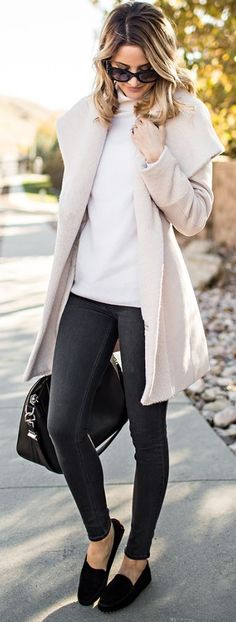 #winter #fashion / cream coat + turtleneck knit