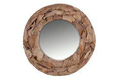 Naturschönheiten - Großer Wandspiegel: Teakholz - rund - Produktnummer: 862209-502-00-245