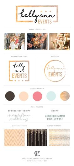 Glamorous and glitzy new brand for Kelly Ann Events. Shimmery and glittery for a wedding and event planner.  Logo, Submark, Custom Brand Patterns, Colour Palette and Brand Board design by Garlic Friday Design.