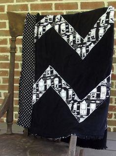 chevron stripe rag quilt, black and white throw, rag quilt blanket, lap rag quilt. $100.00, via Etsy.