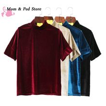 2017 Spring Summer Women short sleeve T-shirt lady girl velvet shirts solid tops fashion women clothing 7949 //FREE Shipping Worldwide //