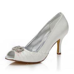 Zapatos - $61.25 - De mujer Zapatos Que Se Pueden Teñir Salón Encaje Tacón stilettos Satén Zapatos (1625100894)