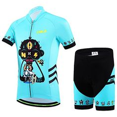 Ateid Children Boys Girls Cycling Jersey Set Short Sleeve with 3D Padded  Shorts RoboSkull 911 Years 58058aa7d