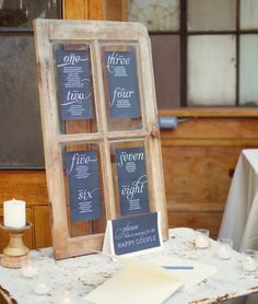 I like the door with the chalk board writing, and leaving a note for the bride and groom at the same time.