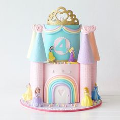 Fit for a Disney Princess 👑🌈 Happy birthday Anastasia 💕 Princess Theme Cake, Disney Princess Birthday Cakes, Castle Birthday Cakes, Princess Cupcake Toppers, 4th Birthday Cakes, Happy 4th Birthday, Castle Cakes, Ladybug Cupcakes, Kitty Cupcakes