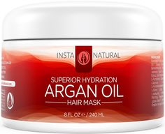Argan Oil Hair Mask - With Organic Argan Oil, Organic Jojoba Oil, Coconut Oil & Shea Butter - BEST Conditioner After You Shampoo - The Best Deep Conditioner for Style & Softness - InstaNatural - 8 OZ