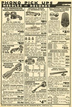 1935 Allied radio catalog page in Reel2ReelTexas.com's vintage recording collection