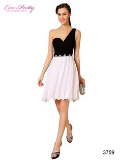 Ever Pretty One Shoulder Black White Ruched Rhinestones Homecoming Party Dress