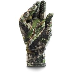 Under Armour Men's UA Camo HeatGear Liner Gloves ($20) ❤ liked on Polyvore featuring mens, men's accessories, men's gloves and mossy oak obsession