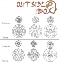6 Different Trivet and Coaster Scroll Saw Pattern Set by OTB