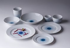 edyta cieloch adds blue gestures to ceramic tableware collection