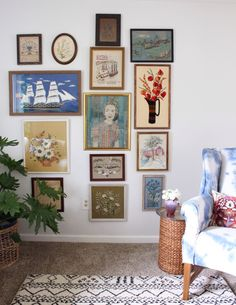 Great use of this space | Small gallery wall | A Cleveland Home Filled with Art and Handmade Pieces | Design*Sponge