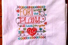 Embroidered dish towel, scripture, Bible verse, flour sack kitchen towel, tea towel, For I Know the Plans by jessiemae on Etsy