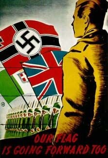 Posters of the British Free Corps, a Waffen S.S unit consisting of British and Dominion prisoners of war who had been recruited by Nazi Germany. Existing from the BFC was largely a. Nazi Propaganda, Ww2 Posters, Political Posters, Political Art, Commonwealth, Total War, Prisoners Of War, German Army, World War Two