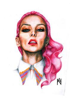 """Oh Cherry"" 2014 Aurthor: Aurelija Norkunaite (Drawing made with Crayons)  More work:  https://www.facebook.com/auroomstudio/photos_stream"