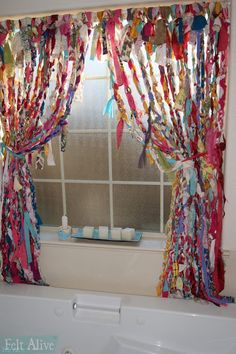 Sewing Curtains I braided and knotted these boho no-sew rag curtains with old sheets, curtains, tablecloths and misc. Hippie Curtains, No Sew Curtains, Drop Cloth Curtains, Beaded Curtains, Rod Pocket Curtains, Hanging Curtains, Bedroom Curtains, Mint Curtains, Closet Curtains