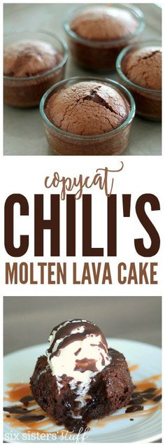 Copycat Chili's Molten Lava Cake on SixSistersStuff.com | You will love this moist chocolate cake with a gooey center and topped with melty vanilla ice cream and chocolate shell topping. And it only takes 25 minutes to make! Seriously, it is perfection!