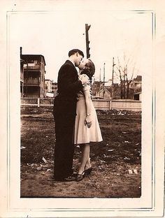40s, 50s, black and white, couple, kiss, love - inspiring picture on Favim.com on We Heart It