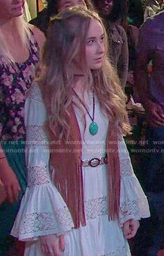 Maya's white lace striped long sleeve dress and fringed vest on Girl Meets World