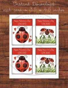 Printable Ladybug Valentine's Day Card, Kids Class Valentines, Classroom Valentine's Day Cards, Love bug, Instant Download