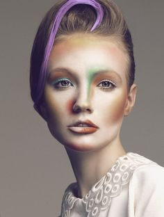 Get Frilled Beauty set featuring colored make-up by Denis Kartashev.