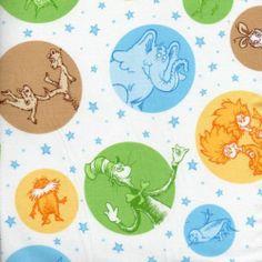 Dr Seuss Celebrate Seuss Character Dots Blue Robert Kaufman Cotton Fabric | eBay