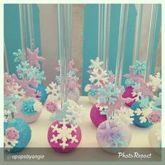 Frozen cake pops, with ornaments