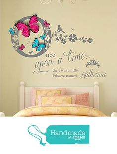 Personalised 'Once upon a time' Princess Vinyl Wall Art Sticker, Mural, Decal with 3D personalised butterflies. Bedroom, Nursery, Playroom Decor. 100cm wide x 81.9cm high dimensions from Fabulous Wall Art Stickers https://www.amazon.co.uk/dp/B01LZ0VNOY/ref=hnd_sw_r_pi_dp_vVh.xbCHJABJ9 #handmadeatamazon