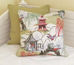 Robert Allen Neo Toile in Coral Designer Pillow Covers with Piping- Other Piping Colors Available by SewSusieDesigns on Etsy