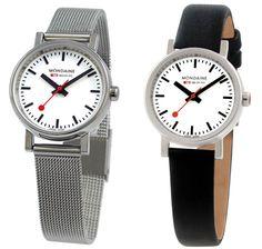 Mondaine pocketwatch and ladies' timepiece arrive at Dezeen Watch Store.
