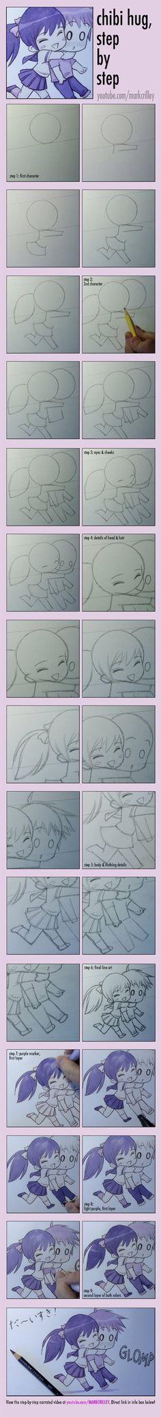 Cómo dibujar Chibis abrazándose, paso a paso