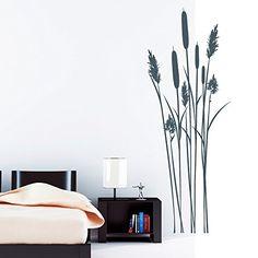 Wandtattoo Loft Wandaufkleber Schilf Bambus Strauch - Wandtattoo / 49 Farben / 2 Größen/ Wandsticker zur Dekoration von z.B. Badezimmer oder Schlafzimmer / dunkelgrau / 55 cm breit x 146 cm hoch