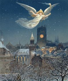 Angel Art Print featuring the painting Christmas Card by Thomas Moran Christmas Angels, Christmas Art, Thomas Moran, Angels Among Us, Guardian Angels, Christmas Illustration, Angel Art, Vintage Christmas Cards, Victorian Christmas