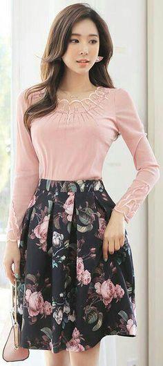 5cb19e1b64b Best korean fashion outfits  koreanfashionoutfits Flare Skirt Outfit