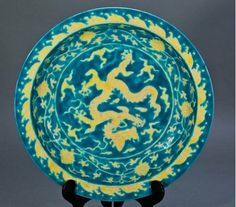CHINESE QING BLUE CHARGER/MARKED 13 INCHES IN DIA.