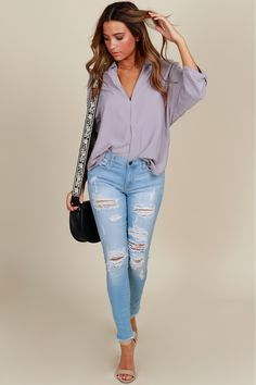 Intimidated Chic Henley Blouse Cloud Grey