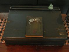 old desk top with book & glasses