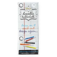 Doodle Tablecloth -- draw on it, wash it, start all over again -- we *need* this in our house!