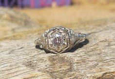 Vintage Antique .35ct Transitional Cut Diamond Unique Engagement Ring Art Deco 14k White Gold Filigree by DiamondAddiction on Etsy